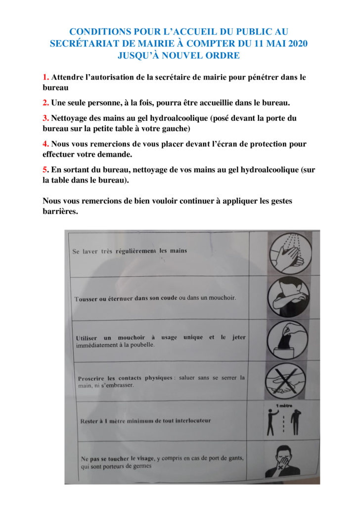 CONDITIONS ACCUEIL à la     MAIRIE / GESTES PREVENTION COVID